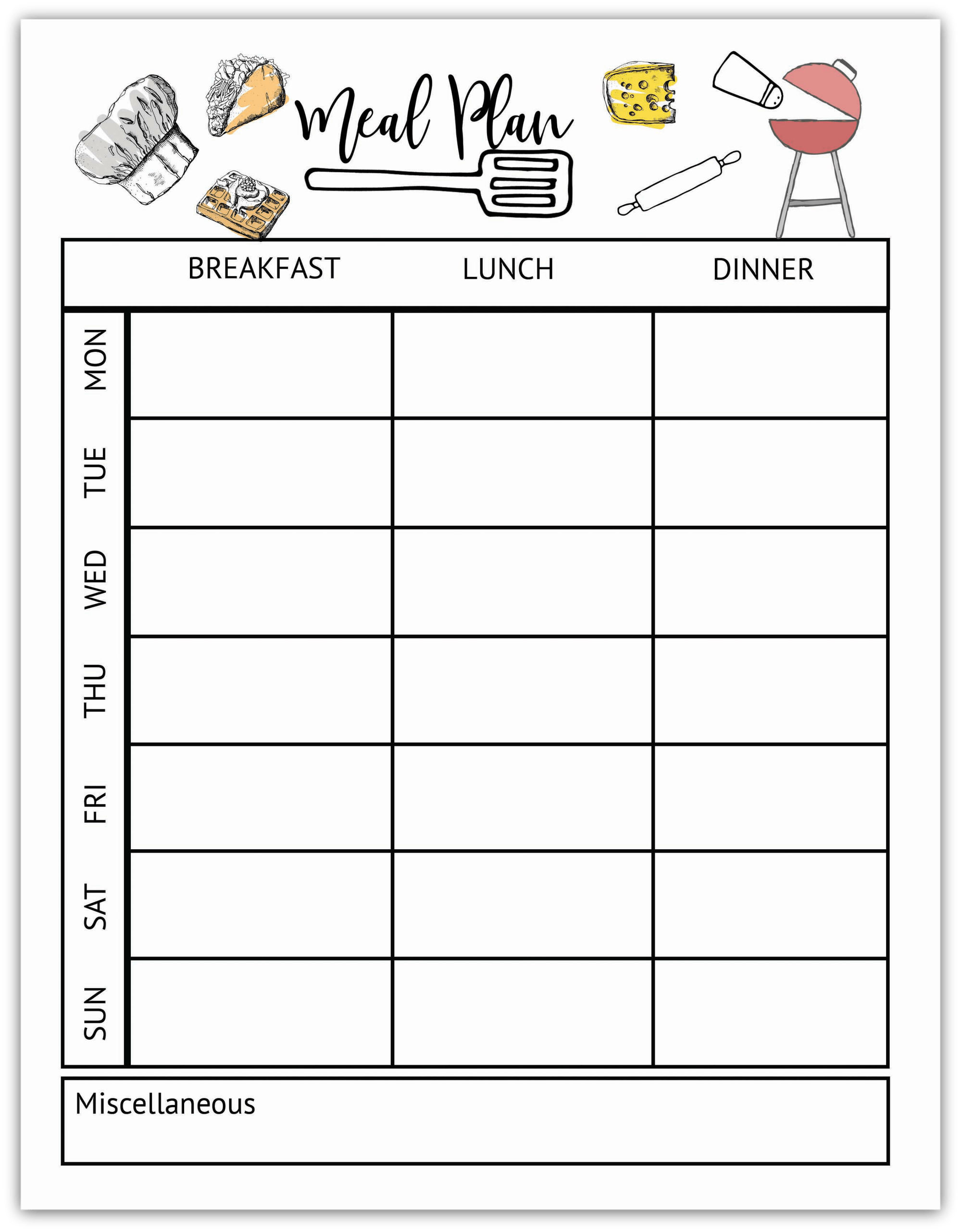 Meal Plan Worksheet