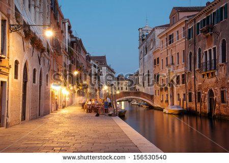 Night scene in historic residential neighborhood in Venice