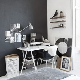 Real home located in Glasgow with a strong black and white graph-ism inspired by Ikea and Scandinavian design (via Ollieandsebshaus)