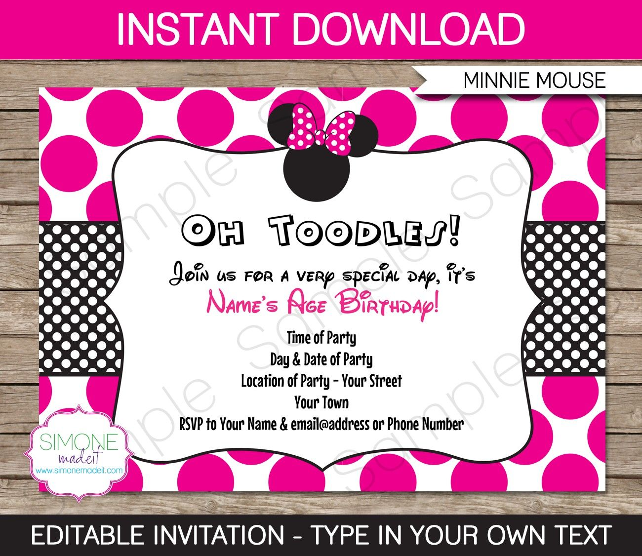 Free Invitation Templates Minnie Mouse 2015 Baby Grant 1st