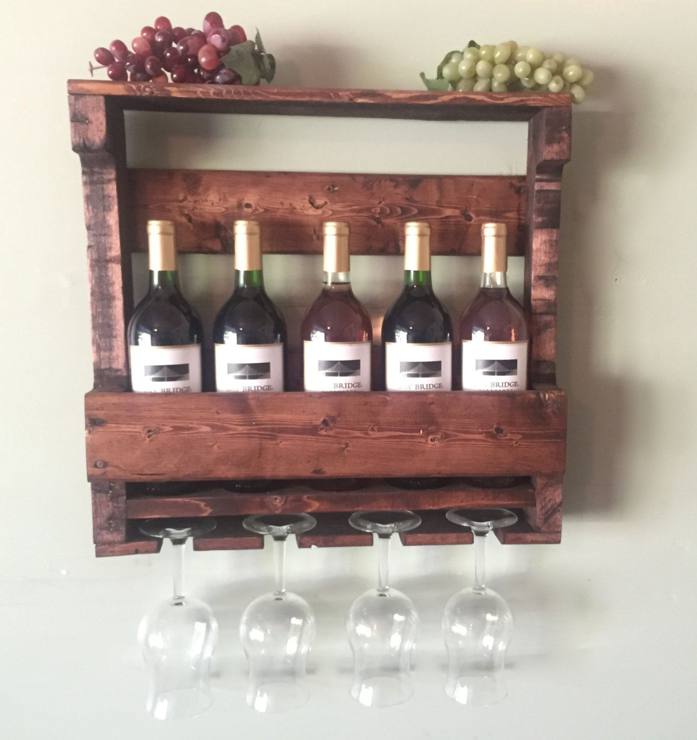 Rustic Wooden Wine Rack Gifts For Him Rustic Home Decor Housewarming Gift Wedding Gift Wine Rack W Modern Wine Glass Wood Wall Wine Rack Wooden Wine Rack