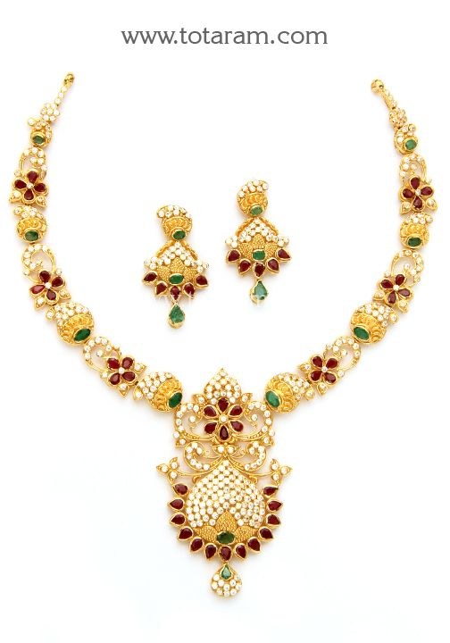 22K Gold Necklace Ear Hangings Set with Ruby Emerald Cz 22