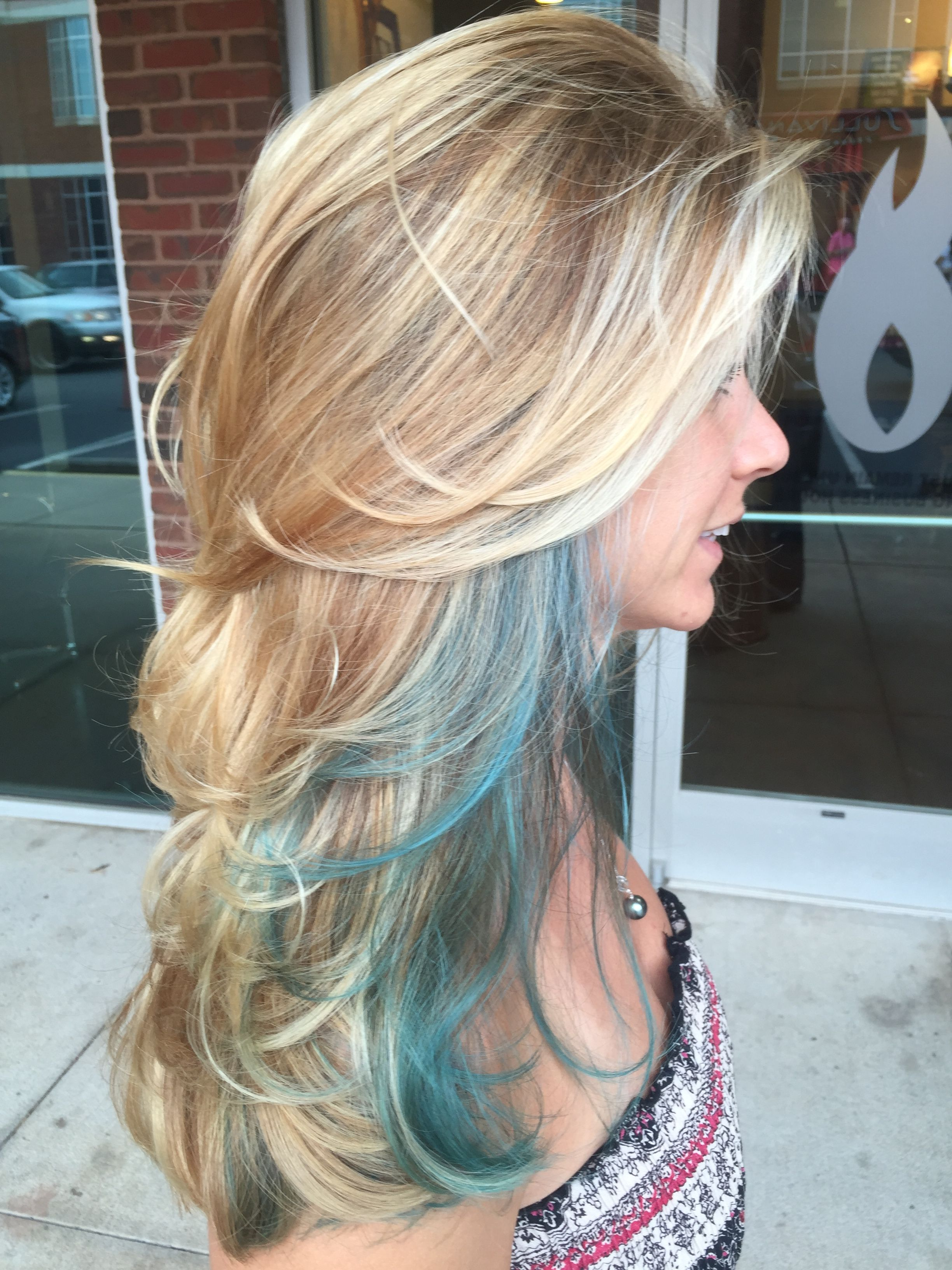 Long Layers Blonde Balayage With A Teal Streak Hair Streaks Blonde Blonde Hair Color Teal Hair Highlights