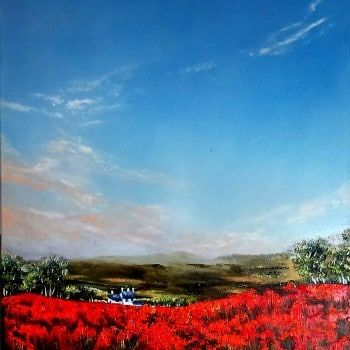 """Morning clouds over poppy field"" by Olena Topliss. A beautiful original oil painting of a country setting with picturesque views from Olena's collection. Click to view more of Olena's original art on FineArtSeen l The Home Of Original Art. >> Pin For Later <<"