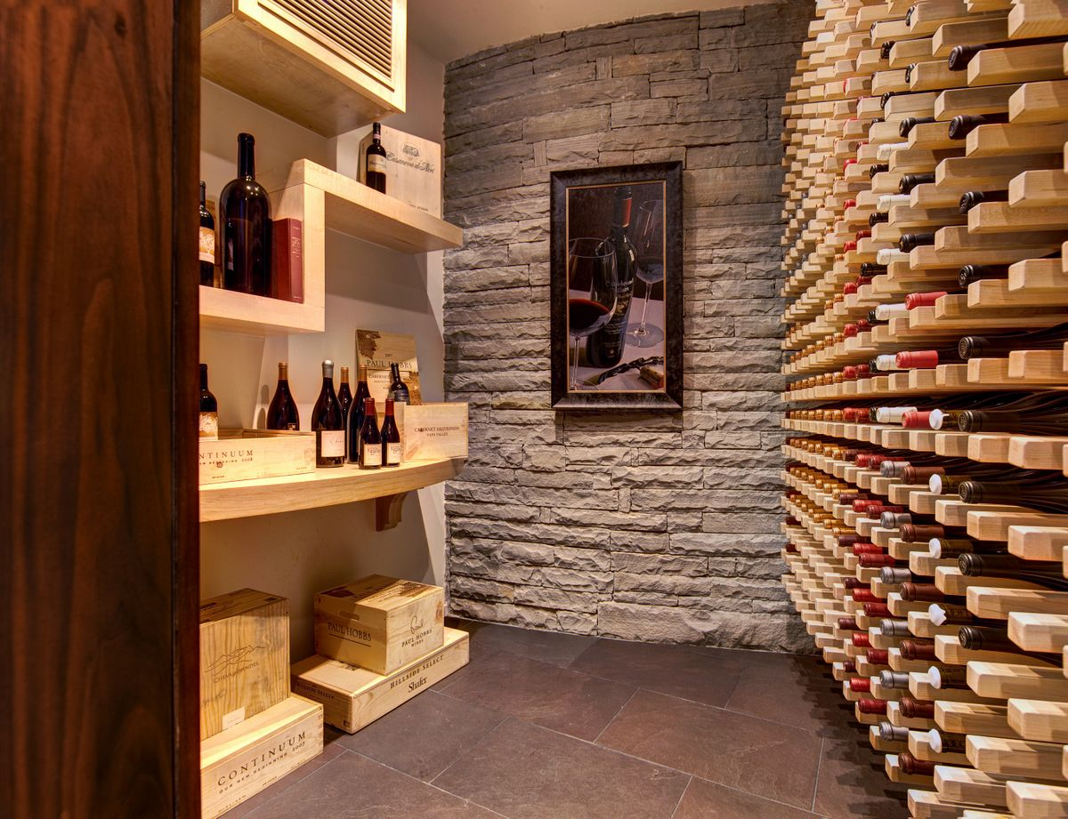 Amazing Interior Home Wine Room Design Ideas With Neutral Beige Wood Wine  Shelving Units And Beautiful