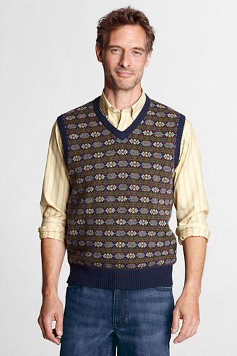 Men S Meridian Cotton Wool Fair Isle Sweater Vest From