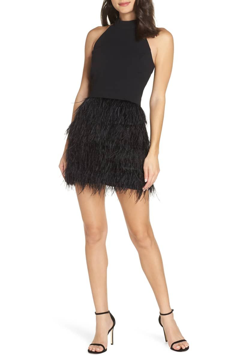 dd2bc457c Feather Halter Dress, Main, color, BLACK | Black Tie & Party Rocking ...