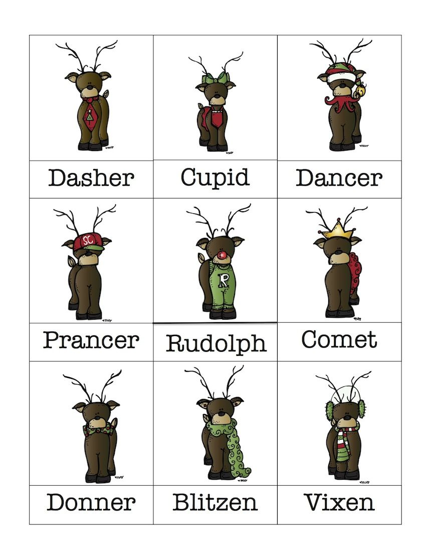 reindeer clip art with reindeer names vocabulary cards with