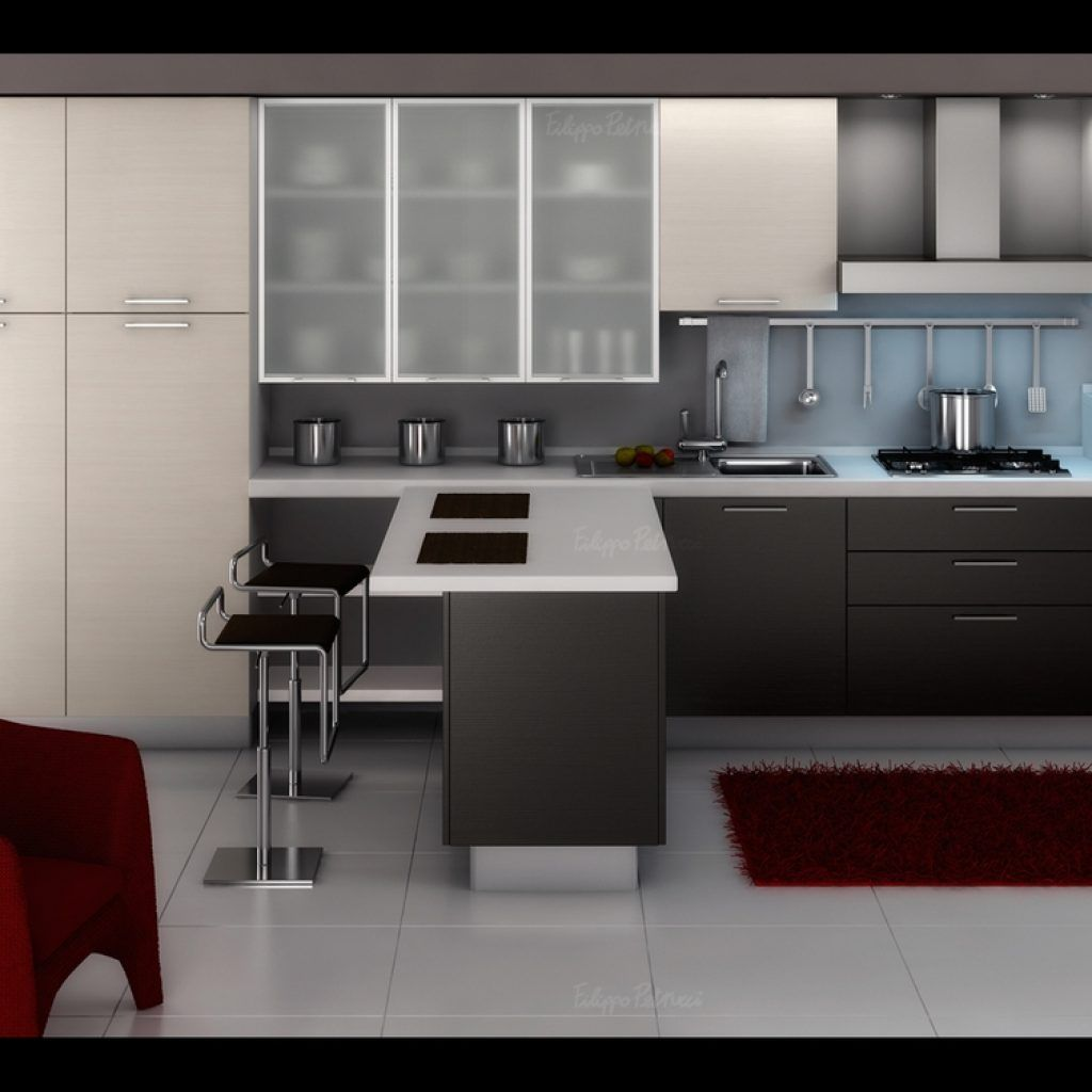 Modern Kitchen Design Gallery With Red Elegant Chair Furniture And White Simple Counter Table