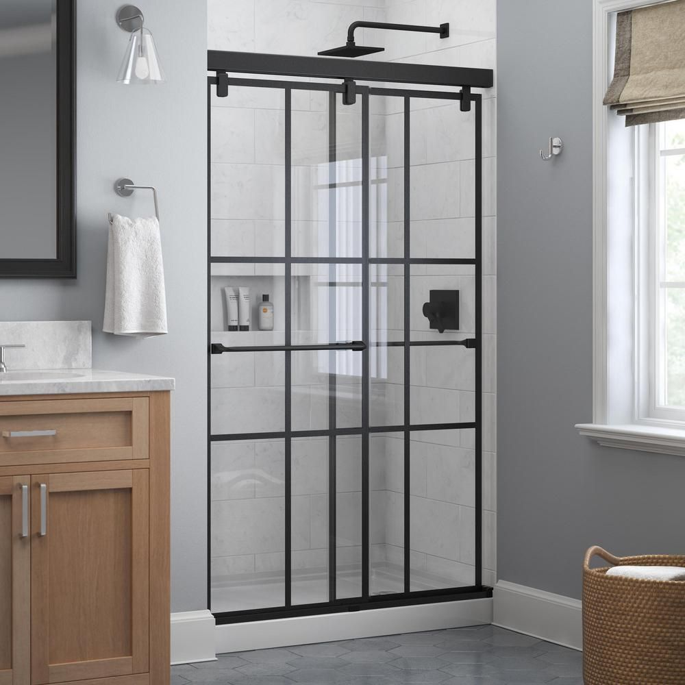 Delta Everly 48 In X 71 1 2 In Frameless Mod Soft Close Sliding Shower Door In Matte Black With 1 4 In 6 Mm Ingot Glass Sd4511055 The Home Depot In 2020 Shower Doors