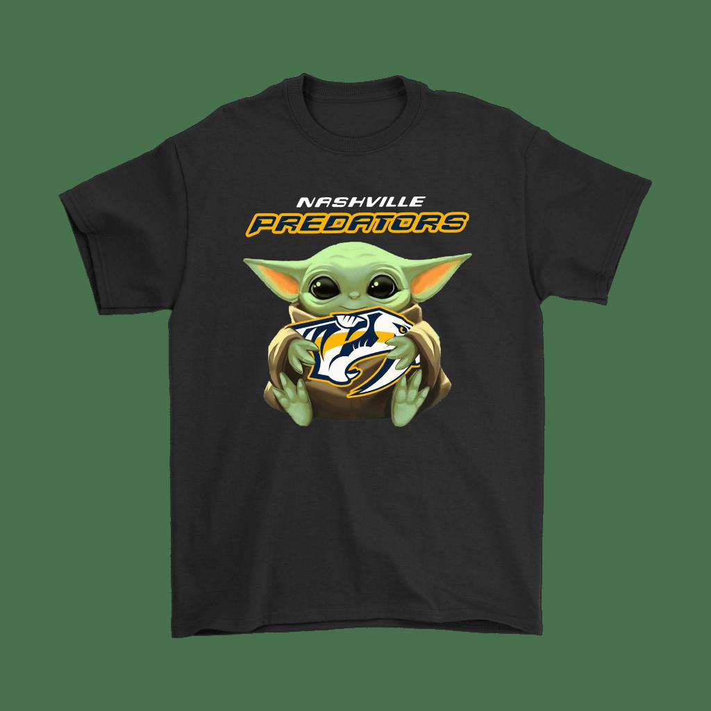 Baby Yoda Hugs The Nashville Predators Ice Hockey Shirts - Teeqq Store