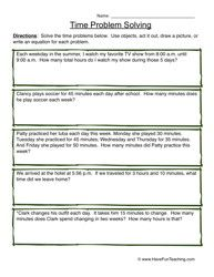 Time Problem Solving Worksheet   Worksheets