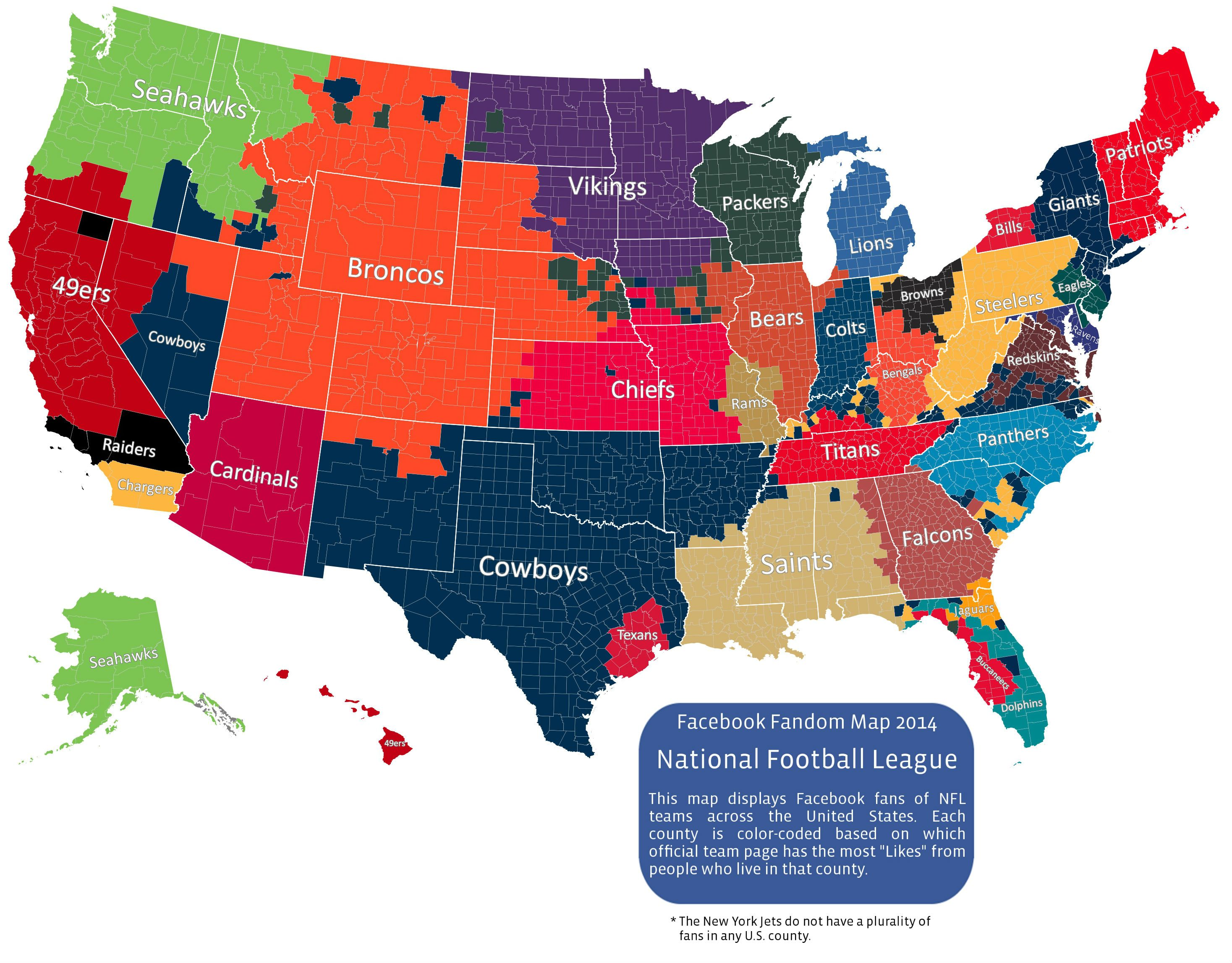 Facebook Map Of Most Popular NFL Teams By County Nfl