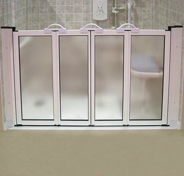 Half height shower doors for walk-in shower for asisting in bathing of elderly or handicapped. These are awesome but unfortunately are not made in the USA. & Half height shower doors for walk-in shower for asisting in bathing ...