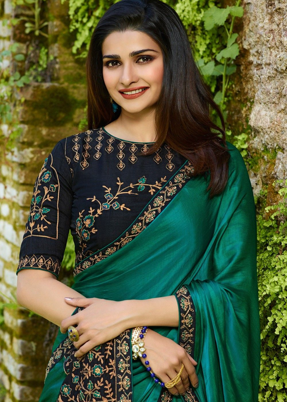 28b21a613e28a8 Prachi Desai Bottle Green Embroidered Art Silk Saree Saree 2031SR05. Buy Bollywood  Sarees online from ...
