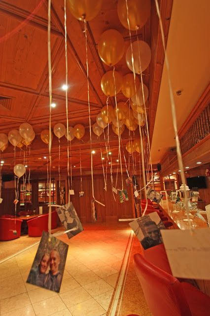 Dekoration mit fotos und luftballons in der riessersee bar zur hochzeit in creme und gold - Dekoration winterhochzeit ...
