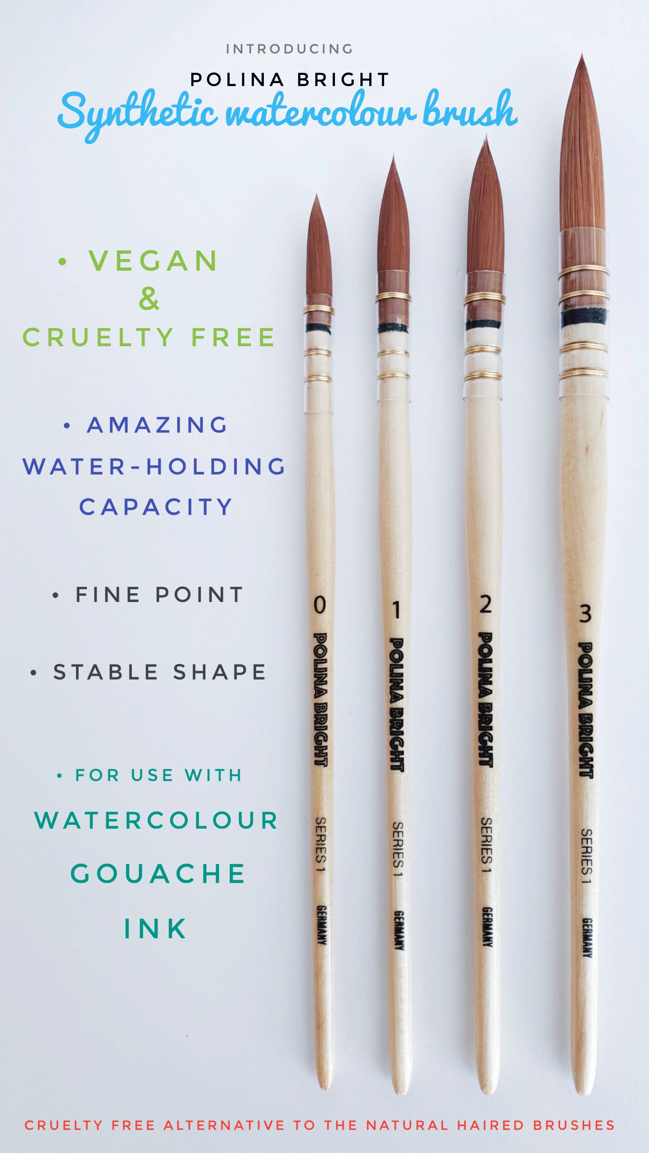 Professional Watercolour Brush Cruelty Free Vegan Watercolor