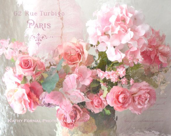 Paris Flower Photography, Shabby Chic Decor, Paris Roses Wall Art, Dreamy Paris Roses Print, Romantic Paris Pink Roses Floral Photography by KathyFornal on Etsy https://www.etsy.com/listing/161311932/paris-flower-photography-shabby-chic