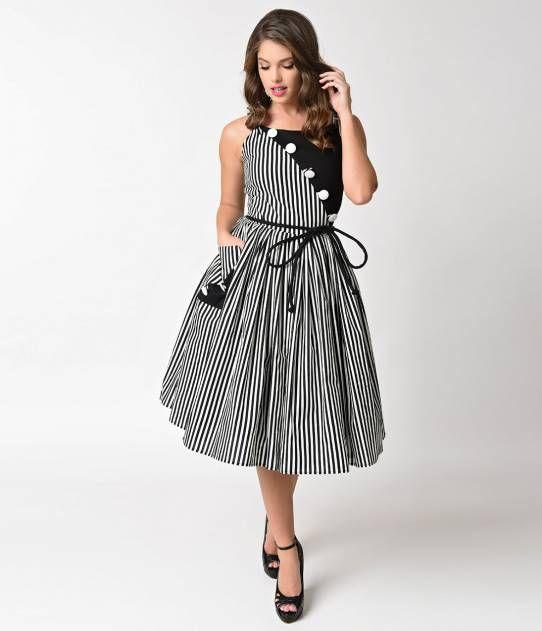 f89c68ee61d Unique Vintage 1950s Style Black   White Stripe Hamilton Swing Dress ...