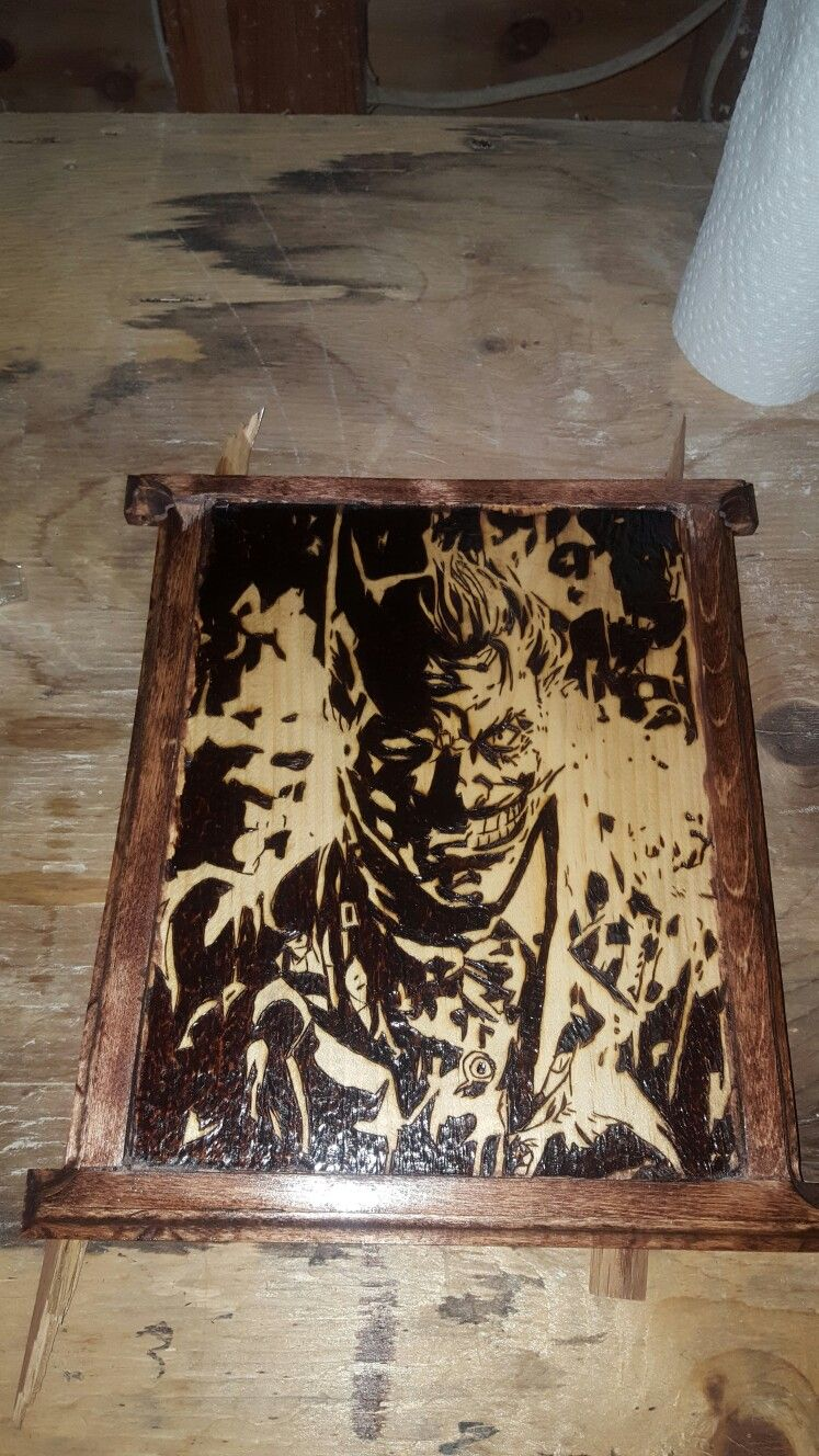 Batman joker wood burning