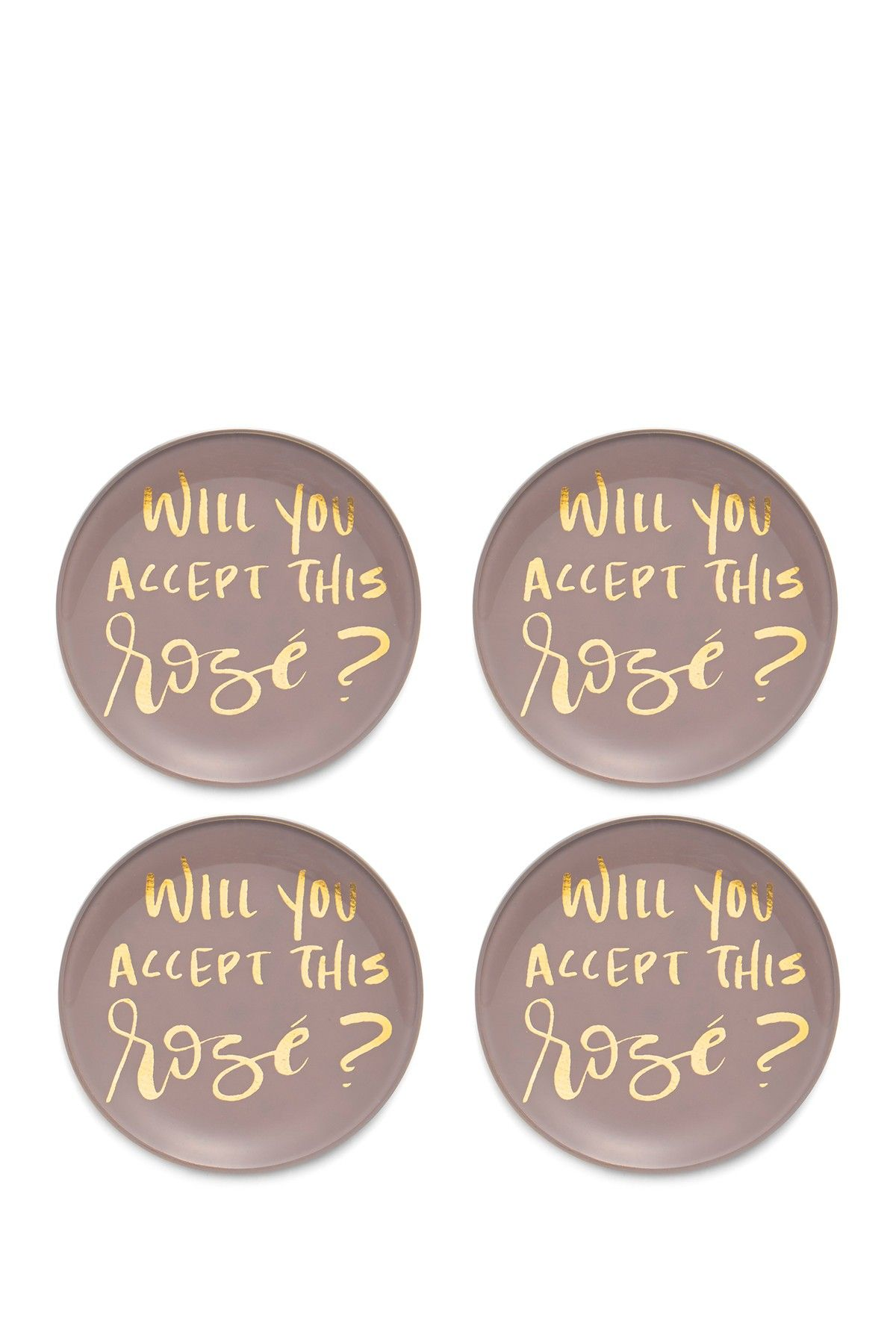 Rose Foiled Pink/Gold Glass Coasters - Set of 4