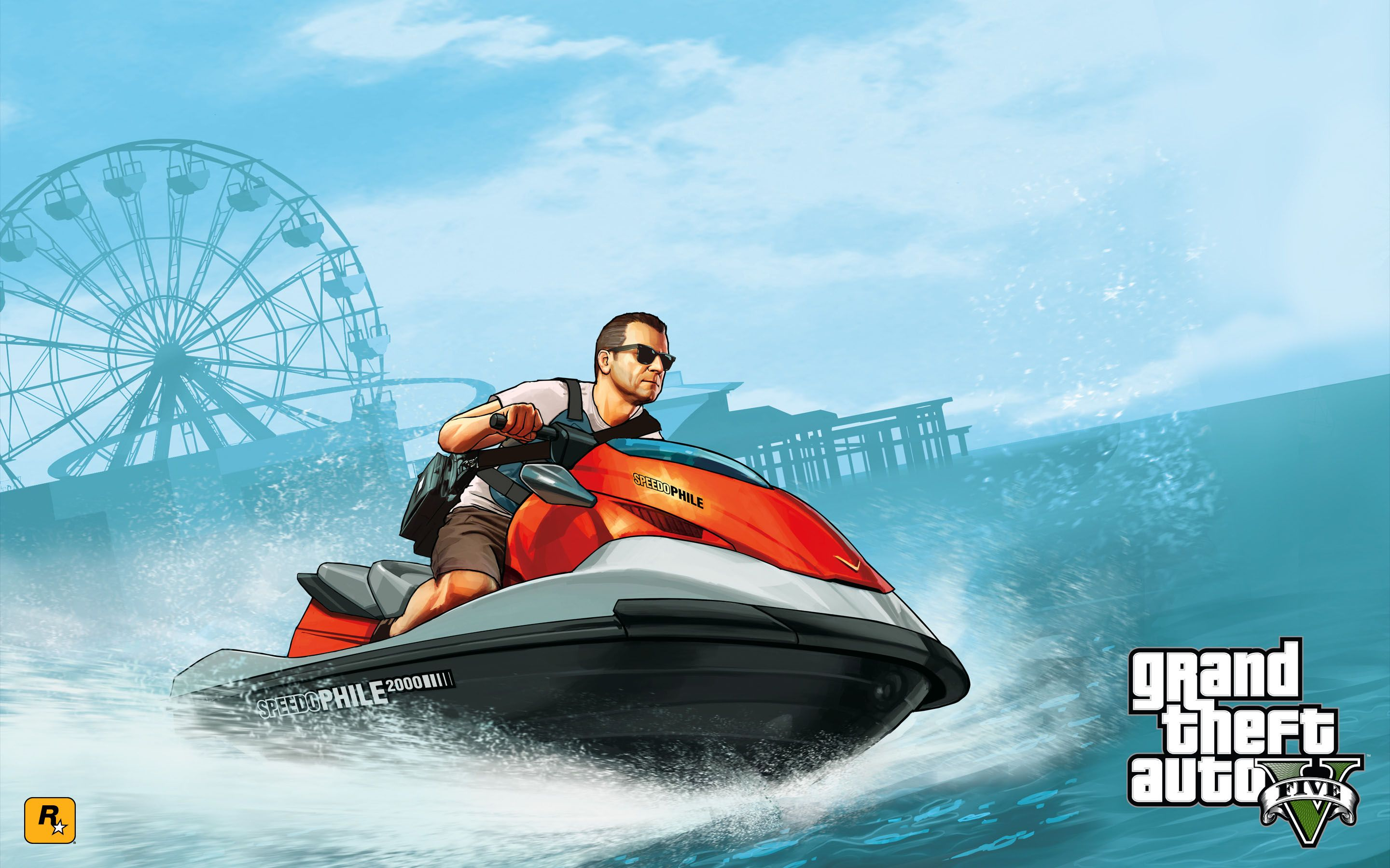 GTA 5 - Michael riding a jet ski 2880x1800 wallpaper