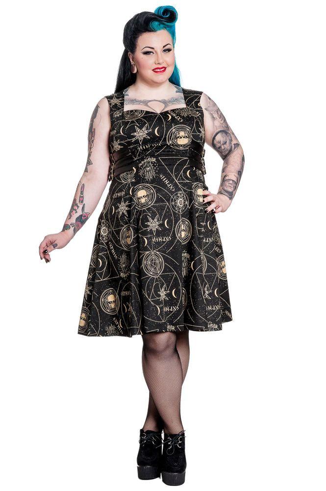 fd35f63027861 HELL BUNNY Tabitha Dress Rockabilly Retro Moon Goth Punk Rock Magick PLUS  Size!
