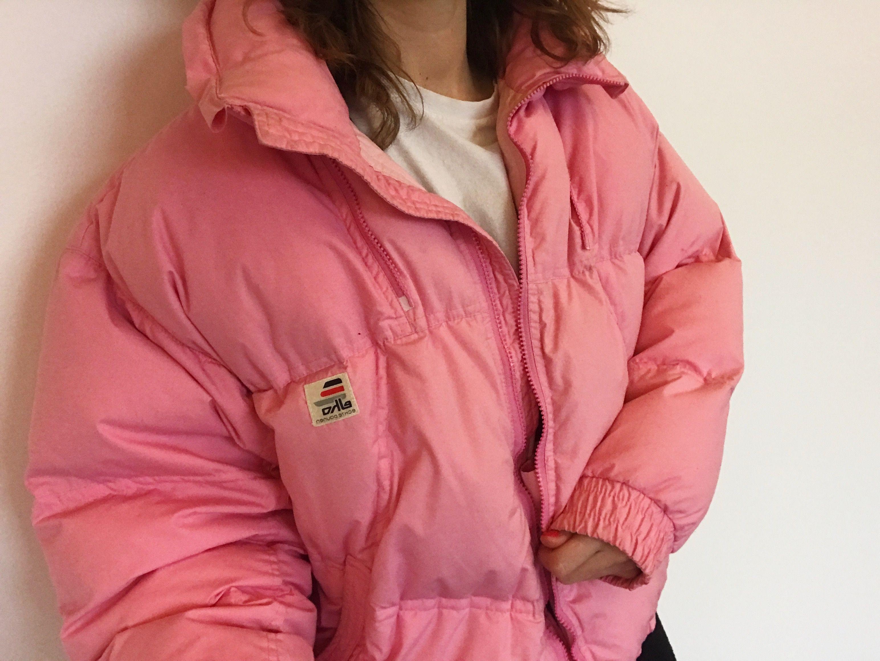 b5aeb441a Vintage Pink Puffer Jacket | thriftoff.com | Vintage ski jacket ...