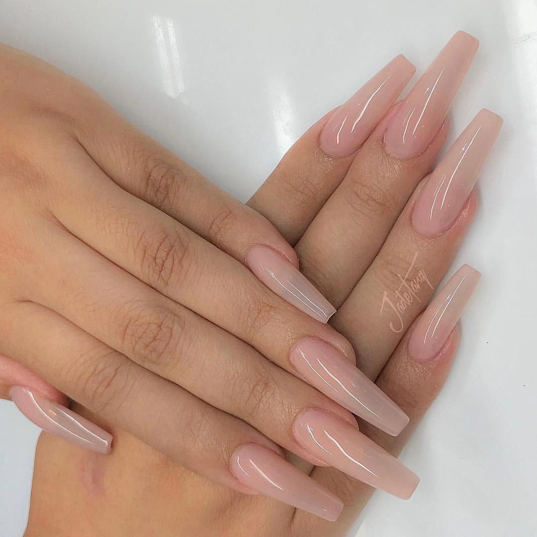 gelnägel ballerina natur | Long acrylic nails, Xmas nails