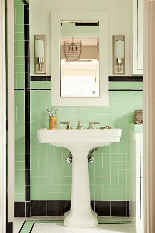 33 Unique Bathroom Tile Ideas | Pinterest | 1950s Bathroom, Modern Sconces  And Pedestal Sink
