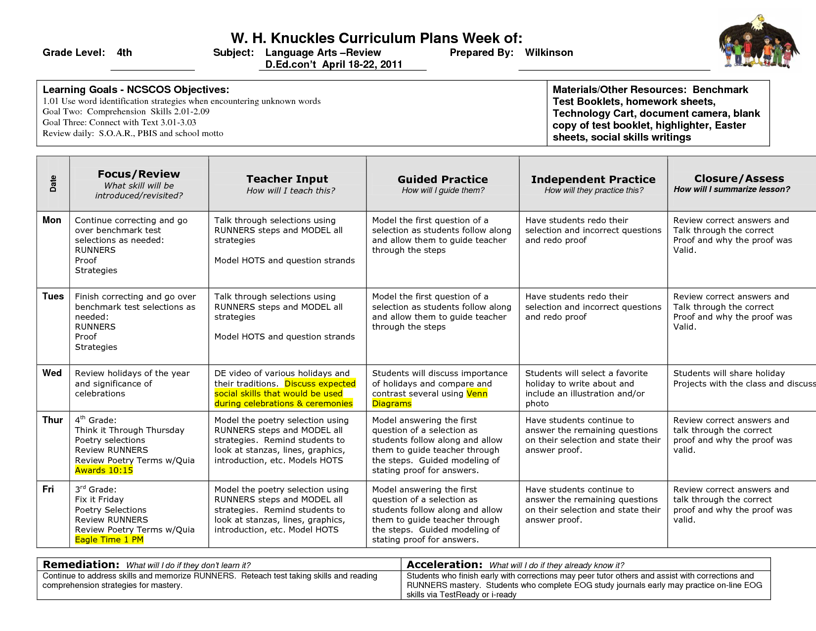 Fourth Grade Lesson Plans   How to plan [ 1275 x 1650 Pixel ]