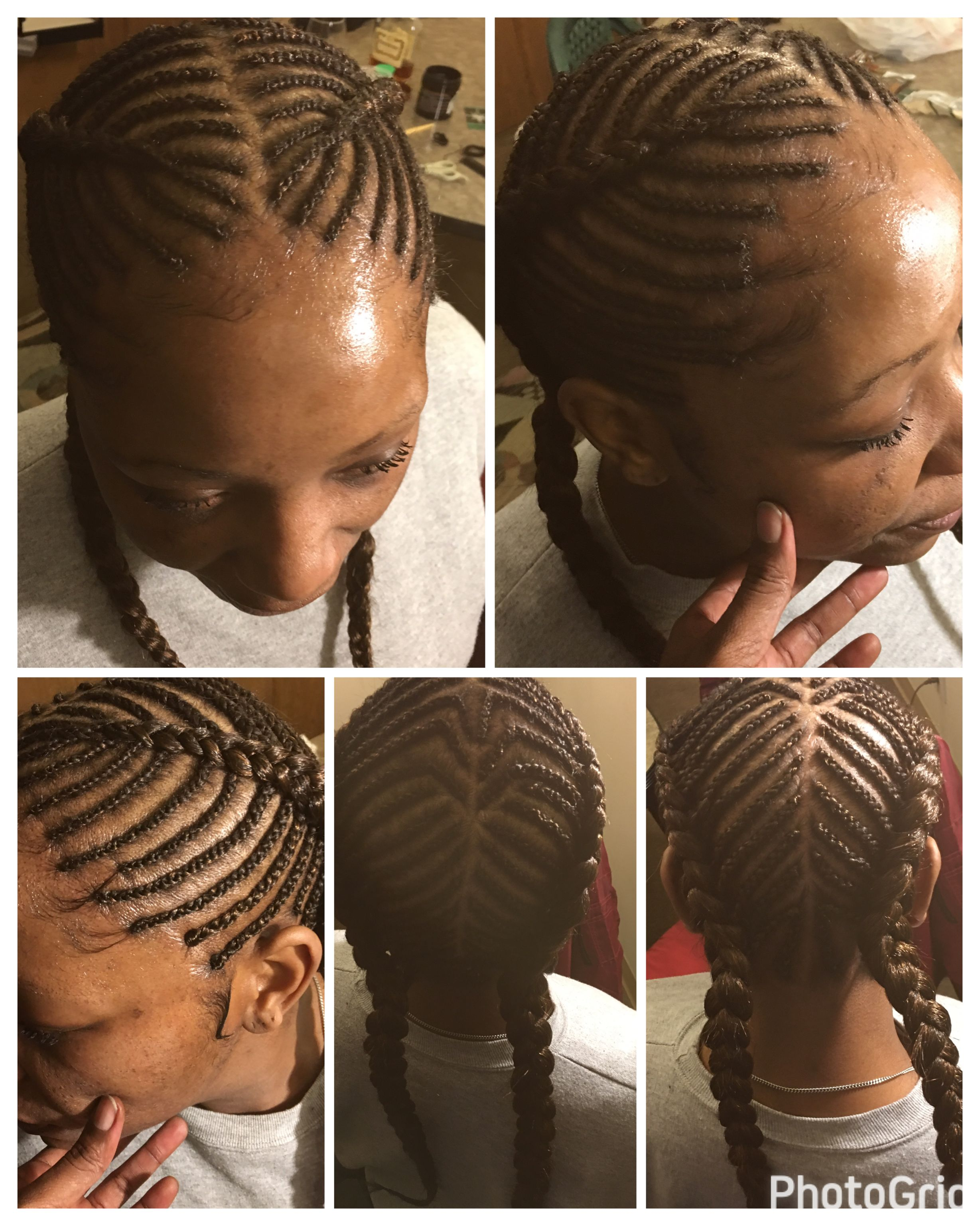 Natural Look Done By Me Small Neat Single Braids Into Two Bigger