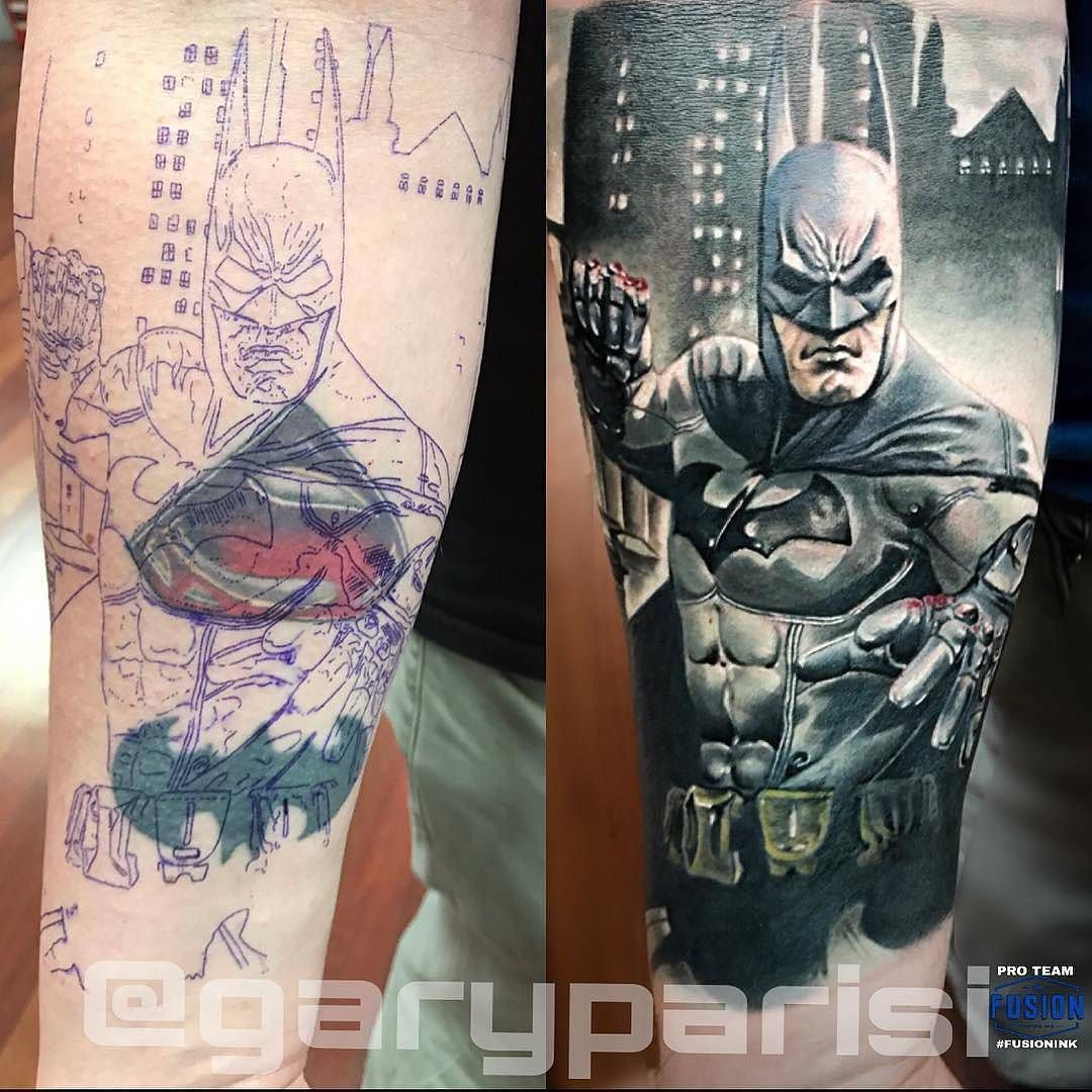 Batman Coverup Tattoo By Garyparisi At Mayday Tattoo Co In Chicago Il Garyparisi Maydaytattooco Chicago Fandom Tattoos Comic Book Tattoo Cover Up Tattoo