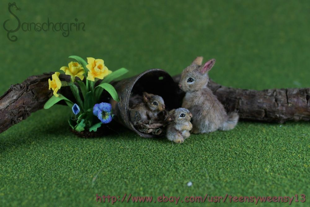 OOAK Dollhouse Miniature Pet Rabbit , 2 Babies w/nest, Flowers Handcrafted 1:12 #Handmade