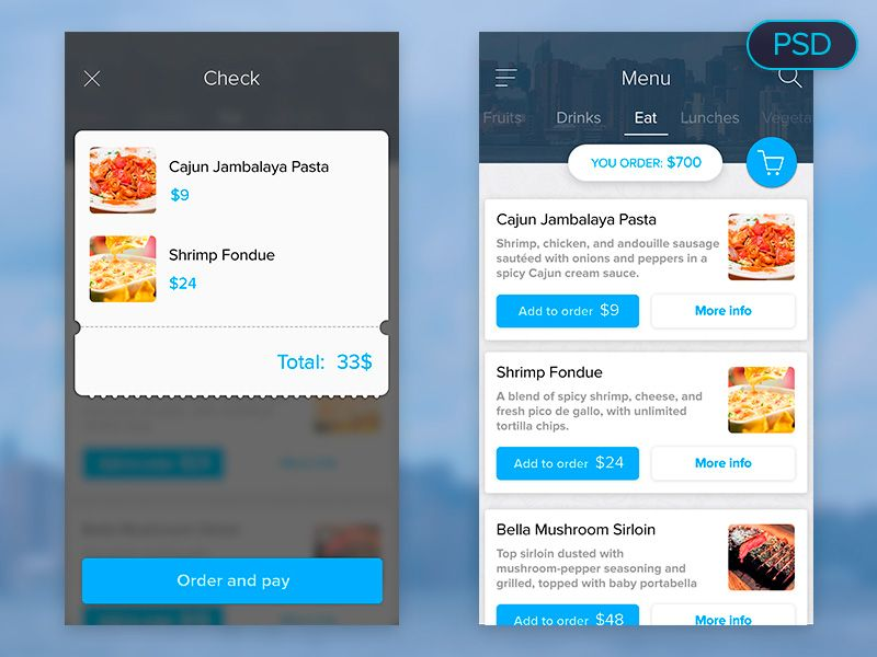 Food Menu Mobile App UI PSD | Free Mobile App UI PSD | Pinterest ...