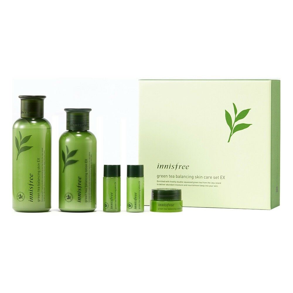 Green Tea Balancing Skin Care Set Ex At Low Price Tofusecret Skincare Set Skin Care Specials Innisfree Skincare