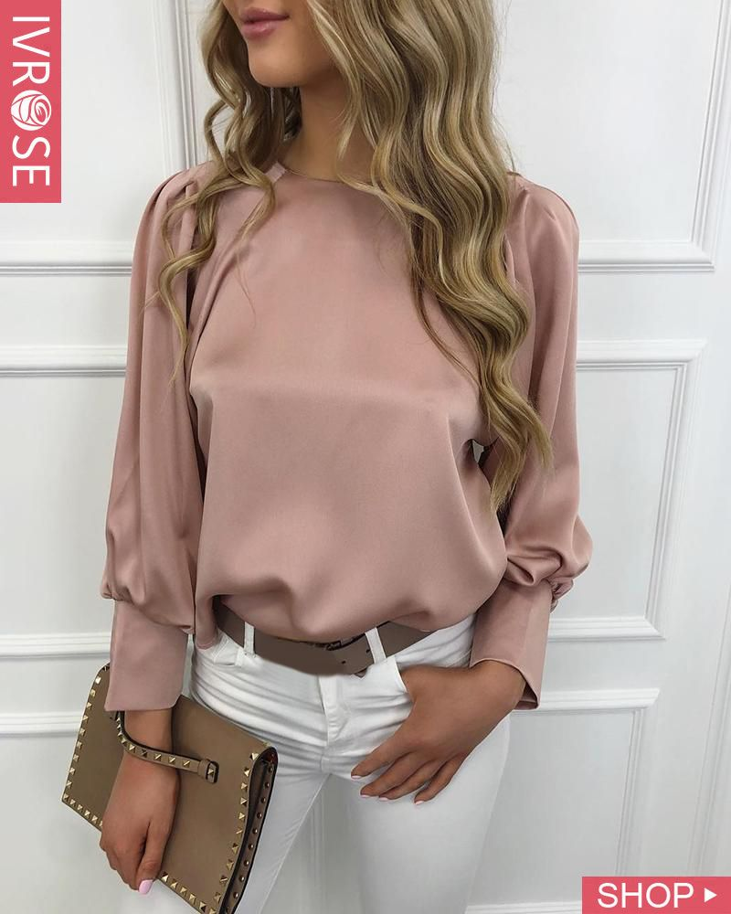 Solid Lantern Sleeve Casual Blouse #businessmodedamen