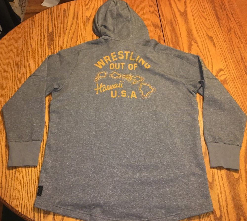 e3dec54154 NWT Men's Under Armour Project Rock Hawaii USA Hoodie Gray Wrestling ...