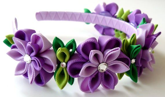 Purple Kanzashi Fabric Flower headband. Purple flower crown headband. Wedding bridal headpiece. Kanzashi flower crown. Floral headpiece #crownheadband