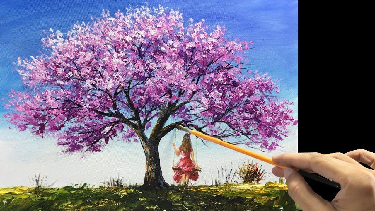 Cherry Blossom Palette Knife Painting On Canvas By Acrylic Paints Youtube Tree Painting Canvas Cherry Blossom Painting Acrylic Large Canvas Painting
