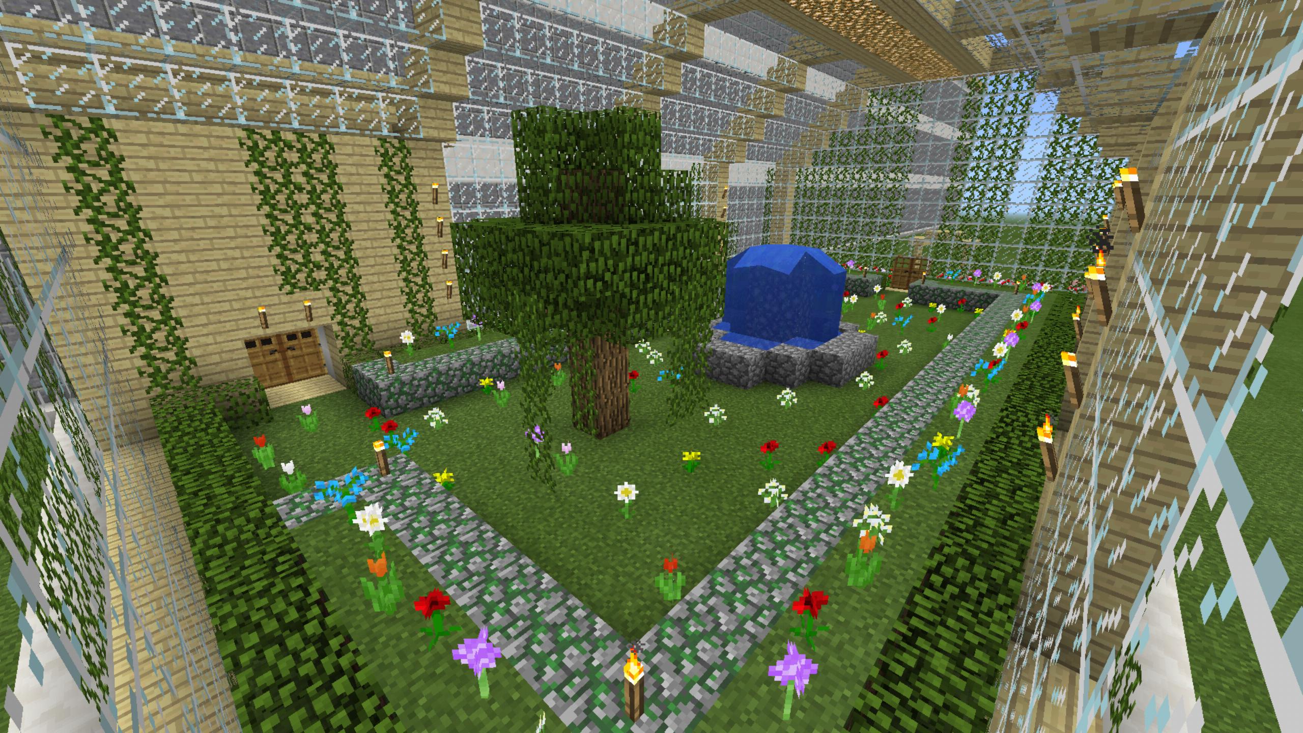 Minecraft Green House Flower Garden Water Fall Fountain ...