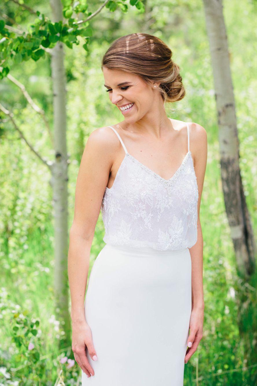 Diamond white top by lihi hod peacock wedding colors
