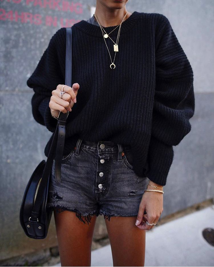 0f4755af7 Black cozy knitted sweater tucked into a distressed mini skirt. Trendy all  black casual outfit idea.