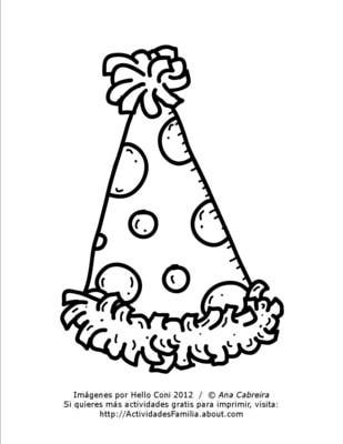 Gorro de Cumpleaños para colorear imprimir colorear