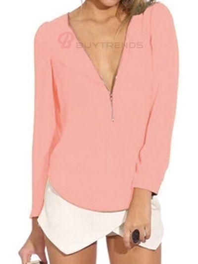 Sexy Women Deep V-Neck Long Sleeve Solid Color Chiffon Blouse #women fashion #shirt #summer