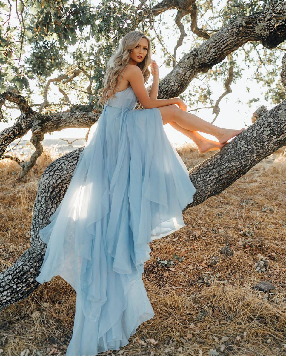 Pretty V Neck Chiffon Blue Long Prom Dress Blue Evening Dress Summer Wedding Dress Beach Blue Wedding Dresses A Line Prom Dresses [ 1192 x 958 Pixel ]