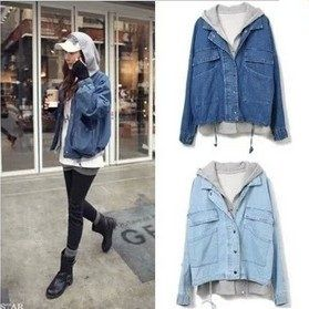 d3f04710bafa New 2014 spring autumn stars printed hooded Twinset plus size casacos  femininos denim outerwear coat jeans jackets women QY0529