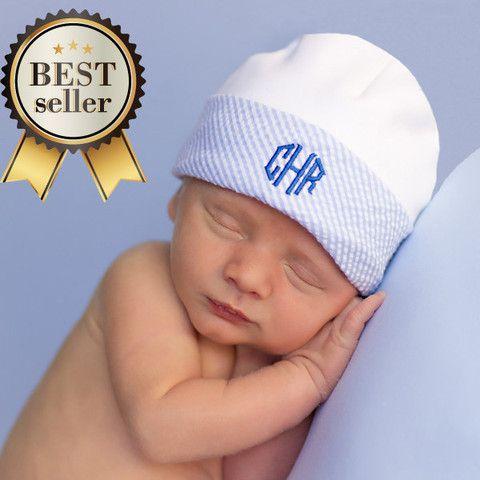 Organic Marvelous Monogrammed Newborn BOY hospital baby hat  1e17ab9169f