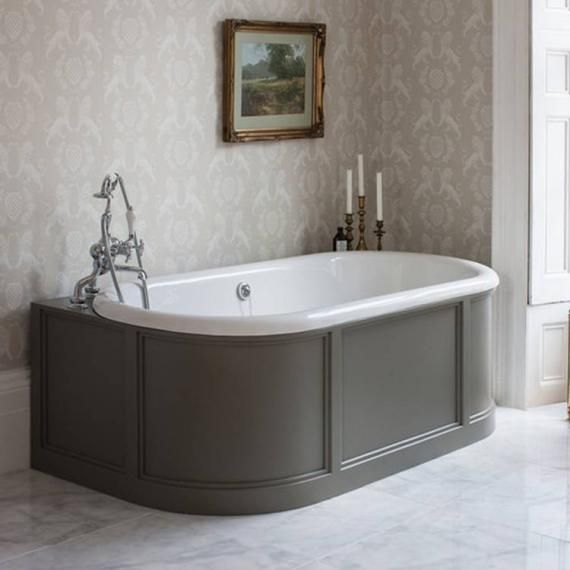 Burlington London Back To Wall Bath With Curved Surround Overflow Interesting Bathroom Burlington Ideas