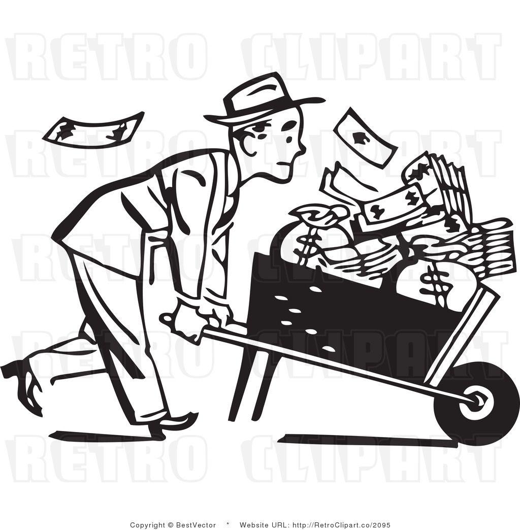 Retro Businessman Pushing A Wheel Barrow Full Of Cash
